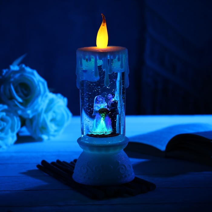 "Фигура световая свадебная свеча ""Любовь"", 26х10х10 см, 3*АА(не в компл.), RGB"