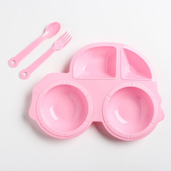 Набор для кормления: тарелка, вилка, ложка, цвет розовый