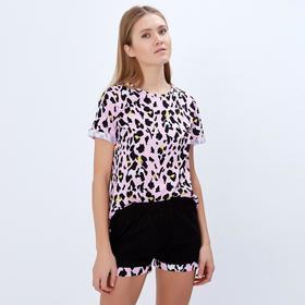 """Шорты женские MINAKU """"Леопард"""", размер 44, цвет чёрный/розовый леопард"""