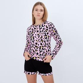 """Лонгслив женский MINAKU """"Леопард"""", размер 42, цвет розовый леопард"""