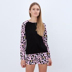 """Лонгслив женский MINAKU """"Леопард"""", размер 42, цвет чёрный/розовый леопард"""