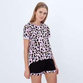 """Футболка удлинённая женская MINAKU """"Леопард"""", размер 42, цвет розовый леопард"""