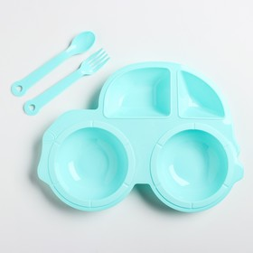 Набор для кормления: тарелка, вилка, ложка, цвет МИКС