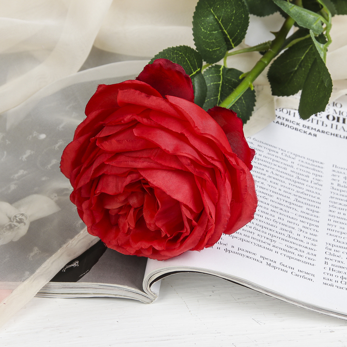 """Цветы искусственные """"Роза бархатная"""" 10*65 см, красная"""