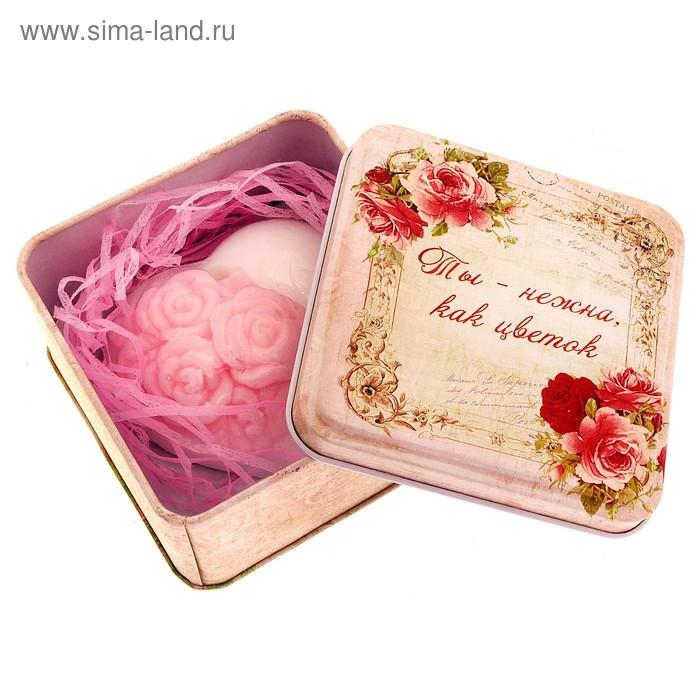 """Набор мыло сердце с розочками и серпантин в шкатулке """"Ты нежна как цветок"""""""