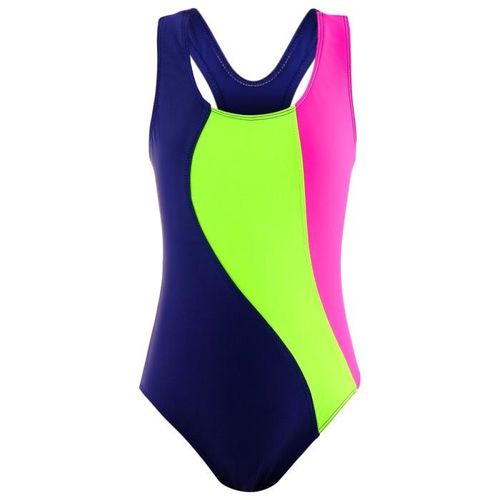 Купальник для плавания сплошной «Волна», тёмно-синий/зелёный неон/фуксия, размер 32
