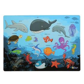Накладка на стол пластик А4, Обучающая, 339 х 224 мм, КН-4, 500 мкм, 'Подводный Мир' Ош