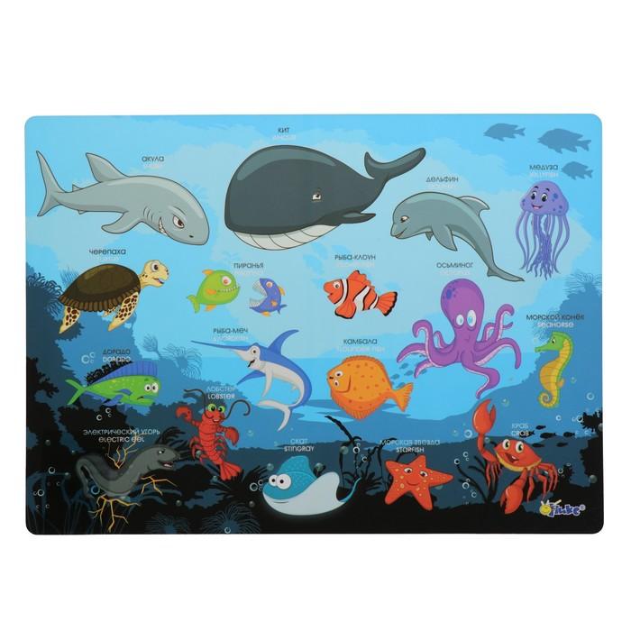 Накладка на стол, пластиковая, А4, 339 х 224 мм, КН-4, 500 мкм, обучающая, «Подводный Мир»