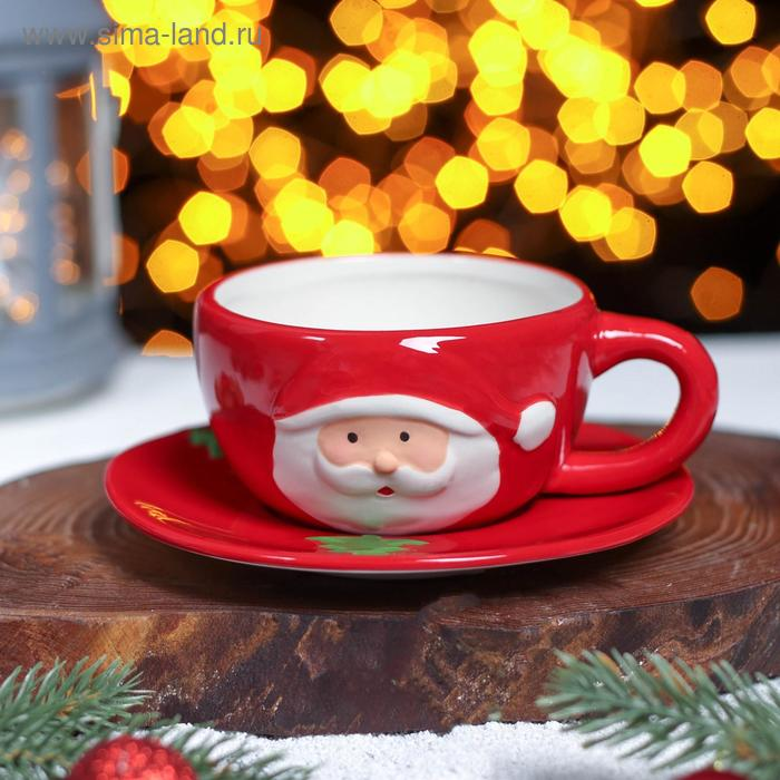 """A couple of tea """"Grandfather frost"""" Cup is 225 ml, saucer"""