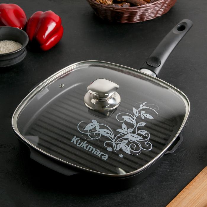 """Сковорода-гриль квадратная 28×28 см """"Традиция"""", со съёмной ручкой, стеклянная крышка, АП линия"""