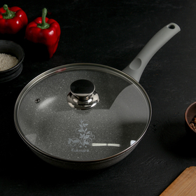 Frying pan 24 × 6 cm, with handle, glass lid, AP, light marble