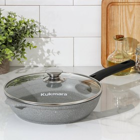 Frying pan 24 × 6 cm, with removable handle, glass lid, AP, light marble