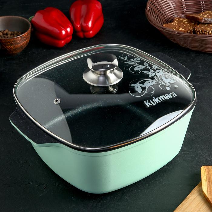 Кастрюля квадратная Titanium pro, 5,5 л, со стеклянной крышкой, цвет зелёный - фото 786735