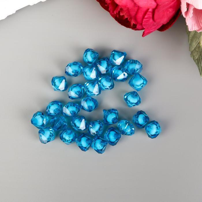 "Набор бусин для творчества пластик ""Кристалл-многогранник морская синь"" 20 гр 1,2х1,4 см - фото 414404"