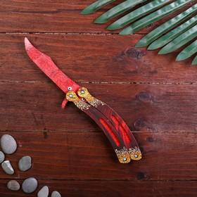 Сувенир деревянный «Нож бабочка, красный гранит»