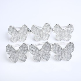 "Набор колец для салфеток ""Бабочка"", серебрянный, 6 предметов, 4,8х3,5 см"