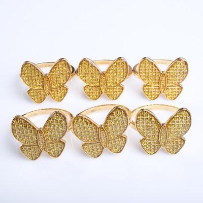 """Набор колец для салфеток """"Бабочка"""", золотой, 6 предметов,  4,8х3,5 см"""