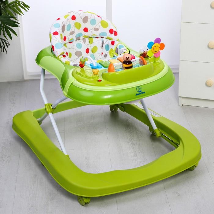 Ходунки «Бекки», 6 силиконовых колес, муз., свет, игрушки, цвет зеленый
