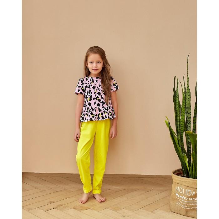 """Брюки для девочки MINAKU """"Леопард"""", рост 92 см, цвет жёлтый - фото 2026622"""