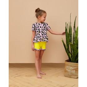 """Шорты для девочки MINAKU """"Леопард"""", рост 104 см, цвет жёлтый/розовый леопард"""
