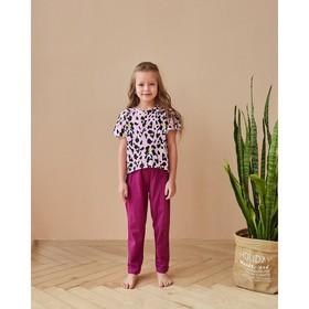 "Футболка для девочки MINAKU ""Леопард"", рост 122 см, цвет розовый леопард"
