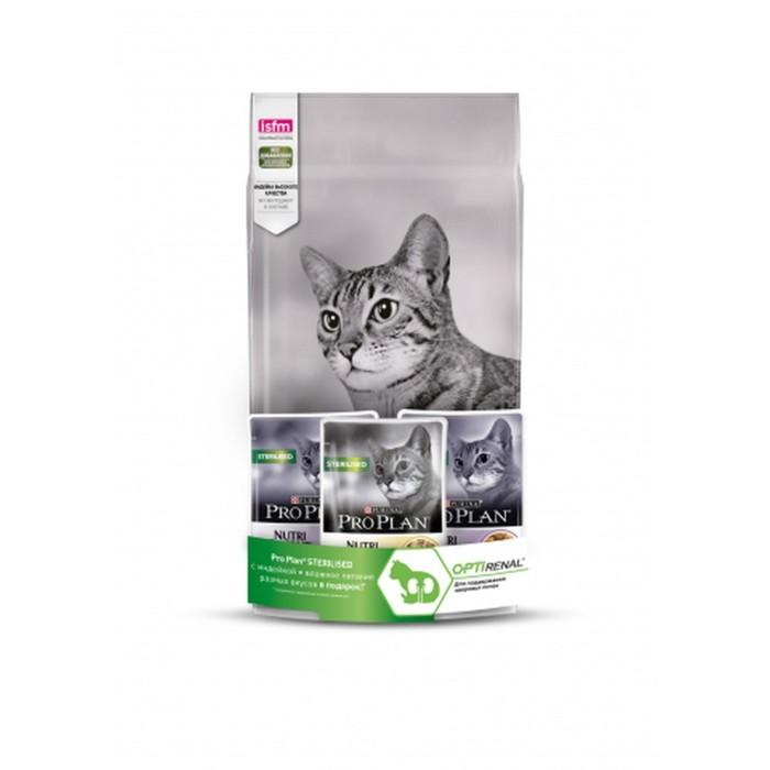 Сухой корм PROPLAN для стерилизованных кошек, индейка,1,5 кг + 3 пауча