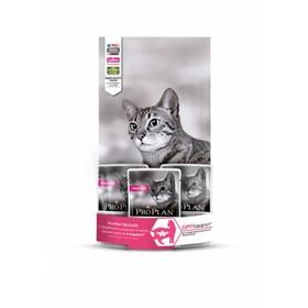 Сухой корм PRO PLAN для кошек с чувствительным пищеварением, индейка/рис, 1.5 кг +3 пауча