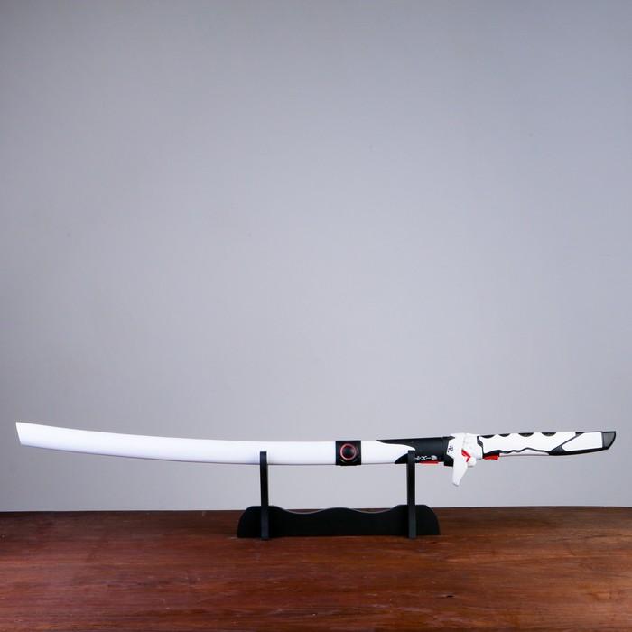Сув. изделие Катана на подставке, белая в стиле Аниме, клинок 68см