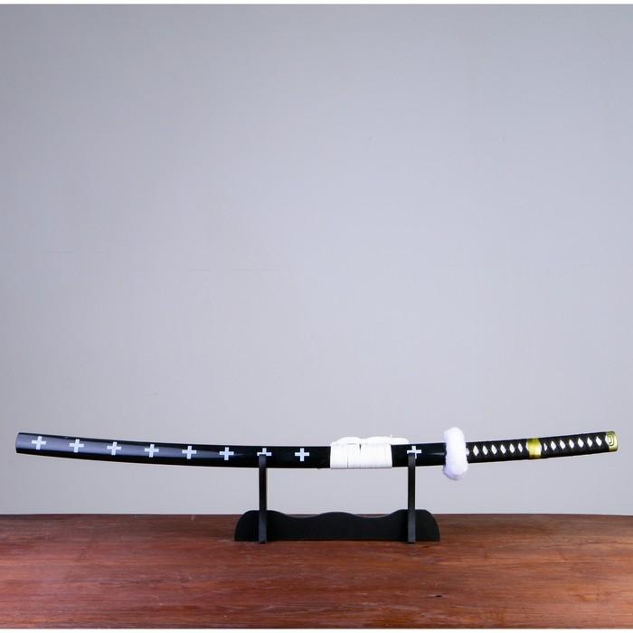 Сув. изделие Катана на подставке, черная с белым, клинок 68см