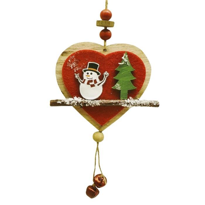 Набор для творчества - создай ёлочное украшение «Сердечко со снеговичком» - фото 99988