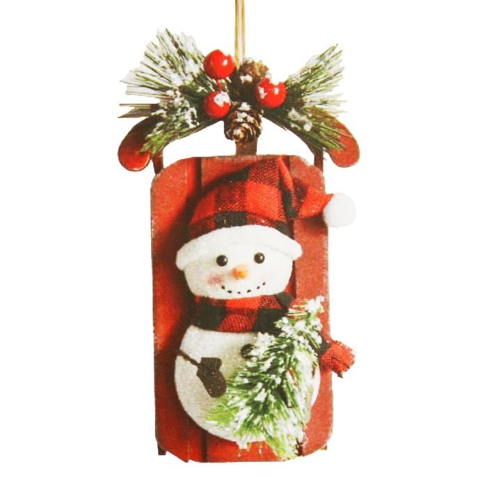 Набор для творчества - создай ёлочное украшение «Саночки со снеговичком» - фото 100036