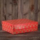 """Упаковка для капкейков, без окна, на 12  шт., """"Ёлки красные"""", 32,5 х 25,5 х 10 см"""