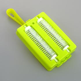 Щётка роликовая с ручкой, 2 ролика, цвет МИКС - фото 4646333