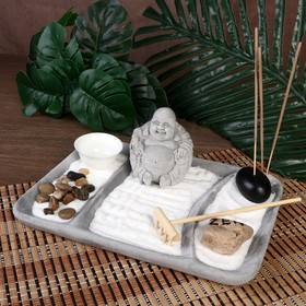 "Сад Дзен ""Хотей в саду"" серый, песок+камни+аромапалочка 8,5х22х16 см"