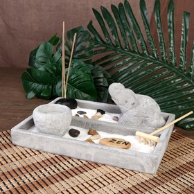 "Сад Дзен ""Слон в пустыне"" серый, песок+камни+аромапалочка+свеча 9х21х15,5 см"