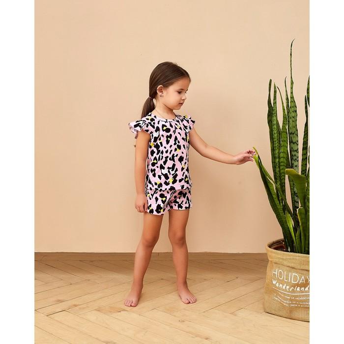 """Топ для девочки MINAKU """"Леопард"""", рост 98 см, цвет розовый леопард - фото 2026664"""