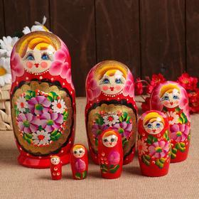 """Матрёшка """"Цветы и золото"""", красная, 7 кукольная"""
