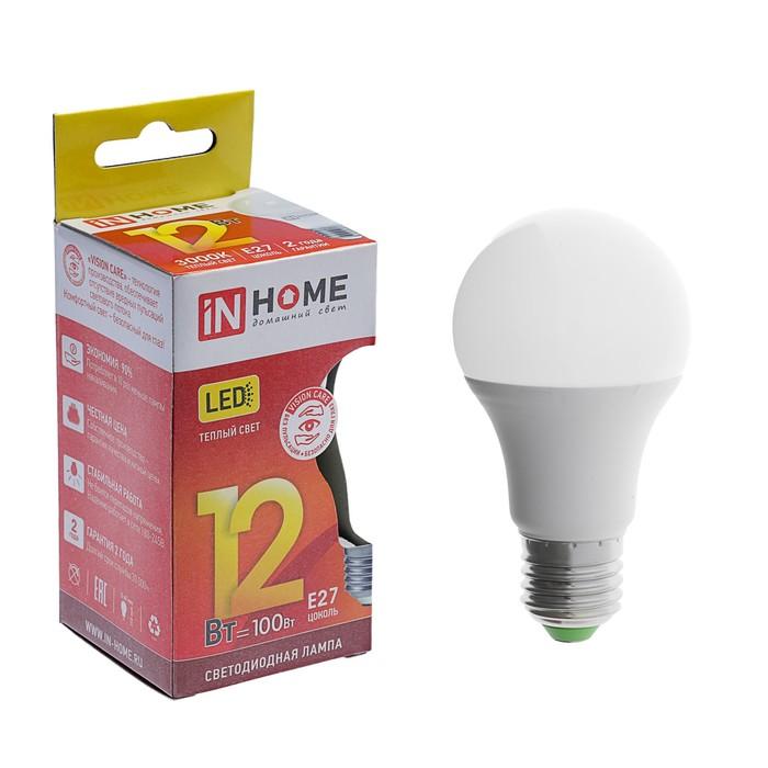 Лампа светодиодная IN HOME LED-A60-VC, Е27, 12 Вт, 230 В, 3000 К, 1080 Лм