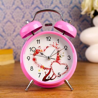 """Будильник """"Amore"""", d= 9.8 см, розовый"""