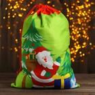 """Мешок Деда Мороза """"Дедушка с подарками"""" 58 × 42 см, цвет зелёный"""