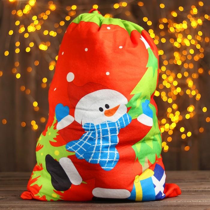 Мешок Деда Мороза «Снеговик», в шарфе, 58 × 42 см