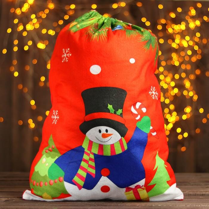 Мешок Деда Мороза «Снеговик», 58 × 42 см