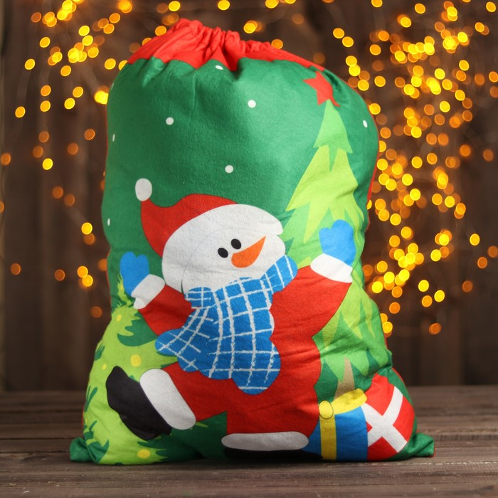Мешок Деда Мороза «Снеговик», с подарками, 58 × 42 см
