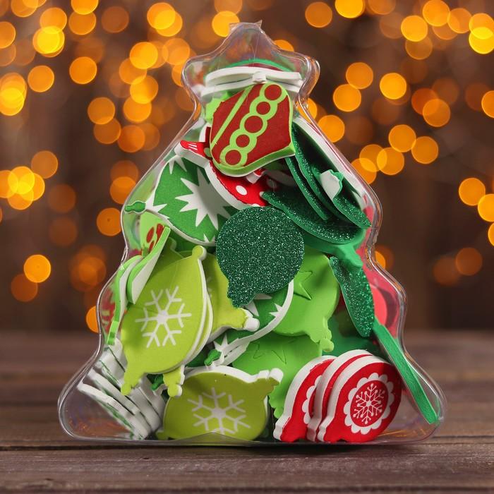 Декор для творчества на клеевой основе «Новогодние игрушки», набор 94 шт., МИКС
