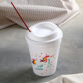 Cup with lid and straw magic 9.5x13.5 cm, MIX color