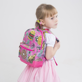 Children's backpack, zippered section, outer pocket, pink