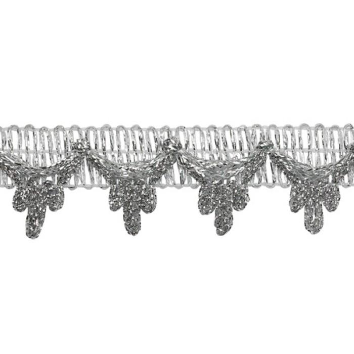 Тесьма металлизированная 25мм*18,29м, цвет серебро