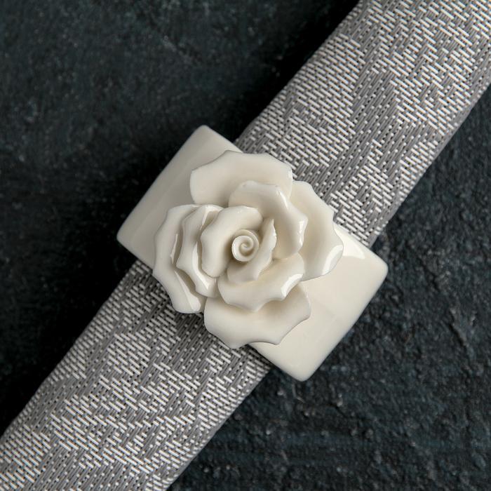 "Кольцо для салфеток ""Цветок"", цвет белый"