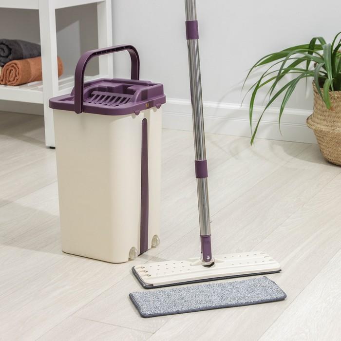 Набор для уборки: ведро с отсеками для полоскания и отжима, швабра плоская, доп. насадка 10 л