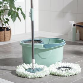 Набор для уборки: ведро с металлической центрифугой 16 л, швабра, доп. насадка, колёсики